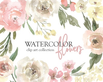 Watercolor Flowers Clipart Gentle Floral Clip Art PNG Free Commercial Use Pink Yellow White Roses Bouquets Vintage Wedding Digital Download