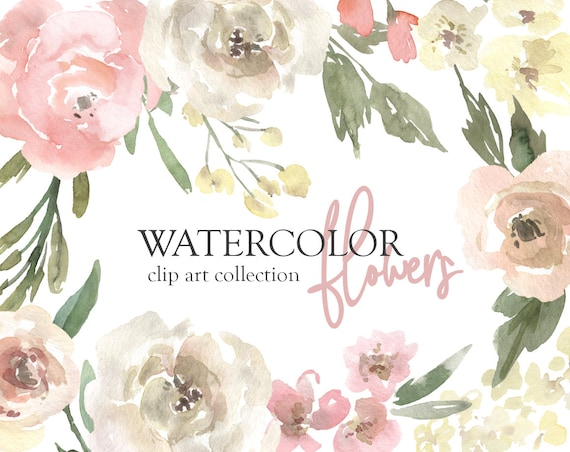 Watercolor Flowers Clipart Gentle Floral Clip Art Png Free Etsy