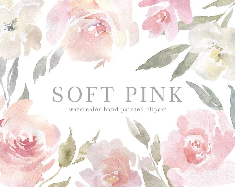 e127cd0cd62ec Watercolor Pink Floral Clipart Blush Aquarelle Digital