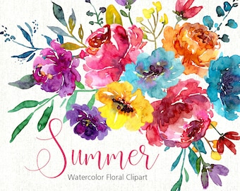 Bright Watercolor Floral Clipart Digital Download Aquarelle Summer Spring Watercolour Clip Art Flowers Leaves Branch Free Commercial Use PNG
