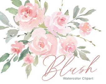 Pink Watercolor Floral Clipart Free Commercial Use Blush Light Watercolour Flowers Aquarelle Roses Bouquets Digital Download Clip Art PNG