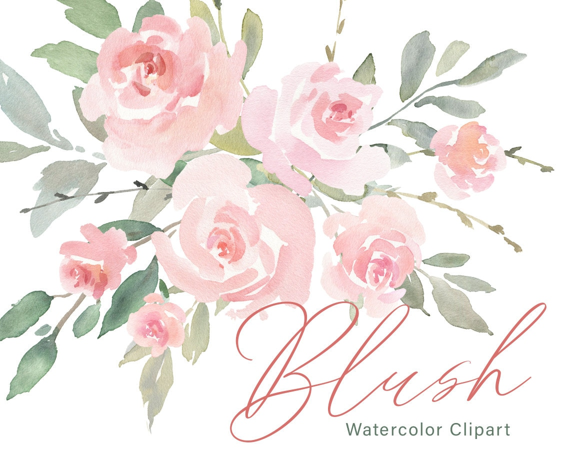 Pink Watercolor Floral Clipart Free Commercial Use Blush Light Etsy