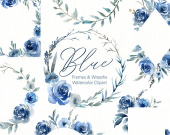 Blue Watercolor Floral Clipart Frames Borders Round Wreaths Flowers Roses Peonies Boho Wedding Arrangements Clip Art Free Commercial Use PNG