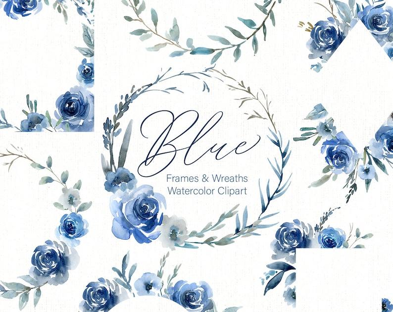 4d532c7aca4d4 Blue Watercolor Floral Clipart Frames Borders Round Wreaths | Etsy