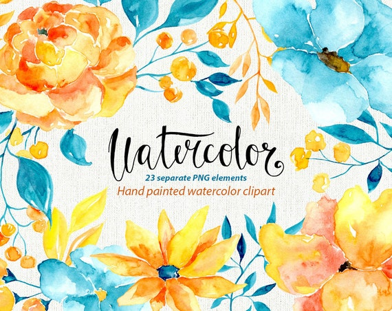 Watercolor floral clipart 23 blue yellow brown flowers etsy image 0 mightylinksfo