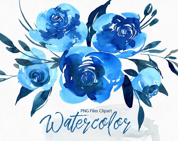 Aquarell Blumen Clipart helle blaue Marine Rosen Blumen | Etsy