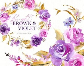 Watercolor Floral Clipart Violet Brown Purple Flowers Clip Art Digital Download Free Commercial Use Wreath Bouquet Roses Peonies Florals Png
