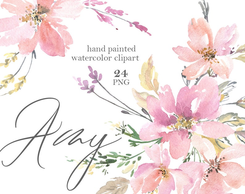 ae595a71dcf2d Watercolor Flowers Clipart PNG Pink Blush Gentle Tender Soft