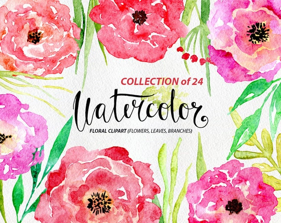 Watercolor flower clipart 25 purple red pink flowers aquarelle watercolor flower clipart 25 purple red pink flowers aquarelle digital clip art watercolour rose floral purple peony free commercial use from mightylinksfo