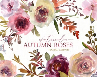 Watercolor Floral Clipart Autumn Flowers Roses Clip Art Wreath Bouquet Bright Wedding Digital Download Autumnal Florals Free Commercial Use