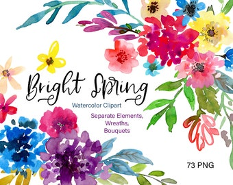 Watercolor Flowers Clipart Bright Spring Floral Clip Art Summer Aquarelle Watercolour Wreaths Bouquets Digital Download Free Commercial Use