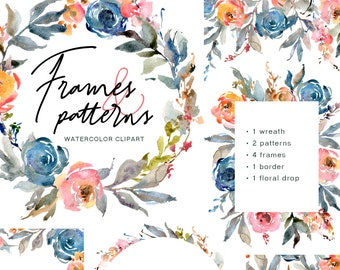 Watercolor Floral Clipart Blue Pink Blush Flowers Clip Art Digital Download Wedding Frames Borders Patterns Wreath Free Commercial Use Png