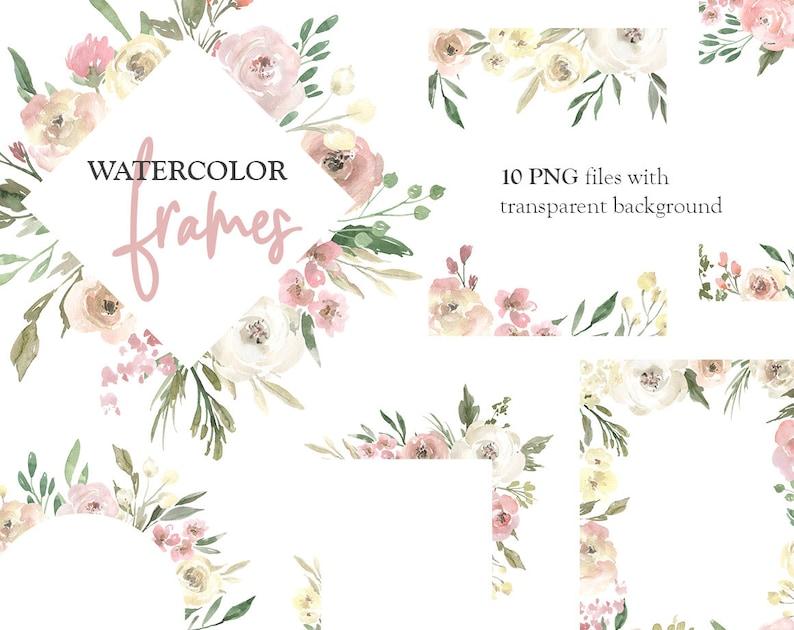 a17ebd4a4baa7 Watercolor Floral Clipart Frames Borders Light Arrangements