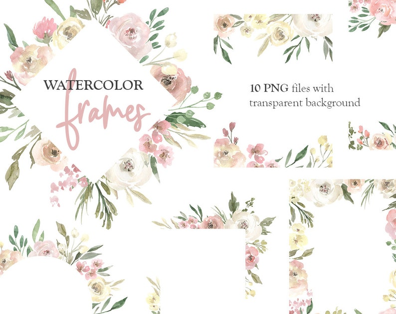 6f81594ebba Watercolor Floral Clipart Frames Borders Light Arrangements