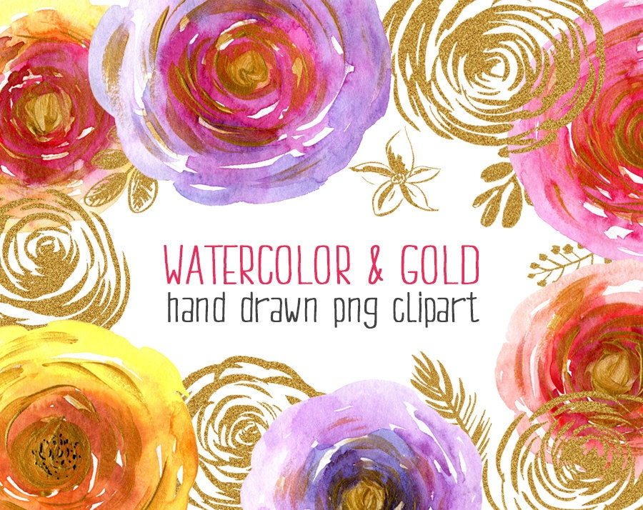 Watercolor & gold floral clipart: 20 flowers leaves ... (900 x 714 Pixel)