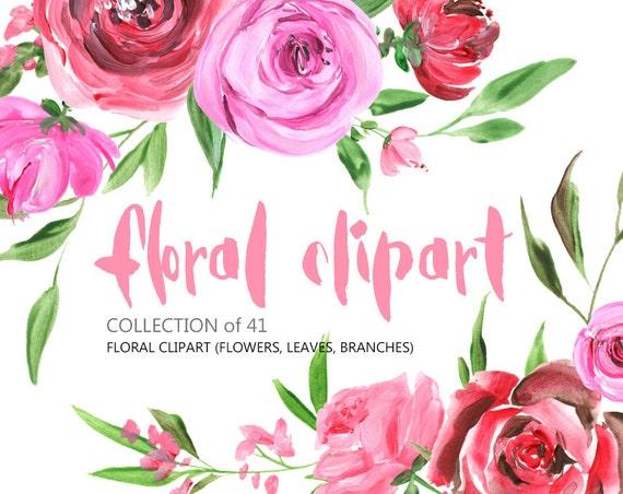 Blumen Clipart: Acryl Aquarell Rosen Pfingstrose Blumen frei | Etsy