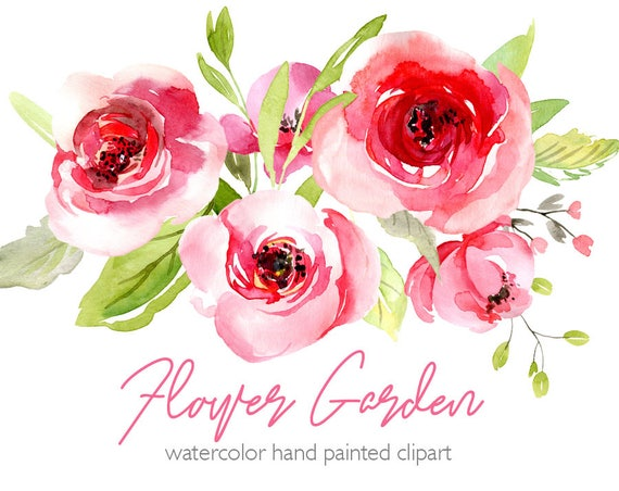 Watercolor Flowers Clipart Pink Blush Red Light Florals ...