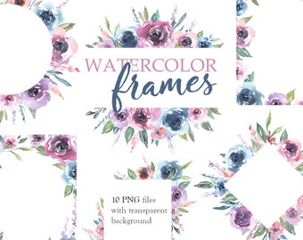 Watercolor Floral Clipart Frames Borders Bright Arrangements Wedding Flowers Roses Clip Art Pink Purple Blue Green Free Commercial Use PNG