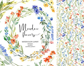 Watercolor Floral Clipart Wildflowers Wild Meadow Flowers Forest Country Summer Digital Download Greenery Clip Art Free Commercial Use PNG