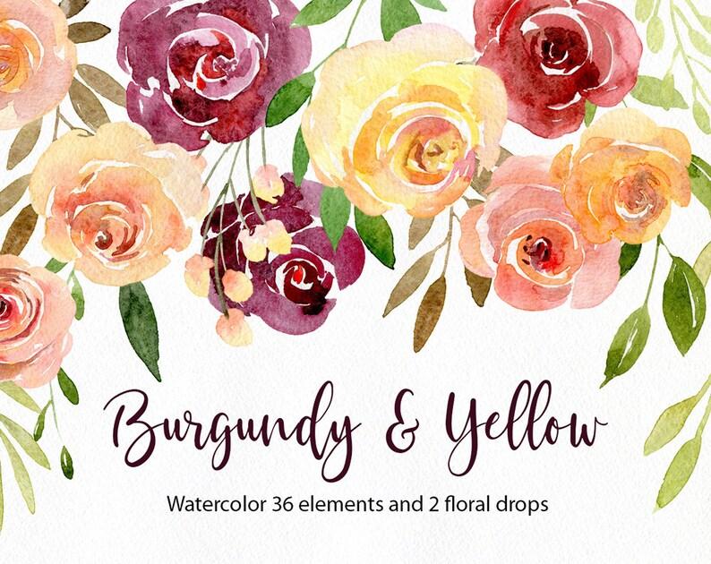 9a23f7fcbdfa6 Watercolor Floral Clipart Burgundy Yellow Blush Pink Roses