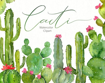 Watercolor Cacti Clipart Green Cactus Clip Art Succulent Tropical Desert Oasis Plants Greenery Free Commercial Use Digital Download Png