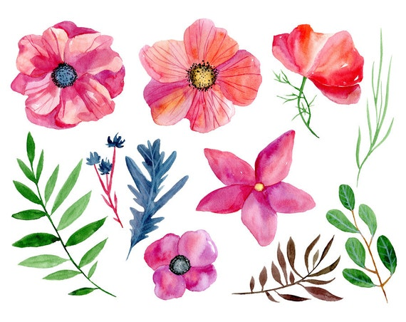 Flowers Boho Aquarelle Digital Clip Art watercolour colorful Free Commercial Use PNG Leaves Watercolor floral clipart 22 bright Branches