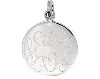 Sterling Silver Round Engravable Charm-Personalized Custom Jewelry