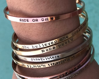 Create YOUR Own Bracelet Friendship Bracelet Silver Gift idea Custom Bracelet Personalized Jewelry Cuff Bracelet Stamped Best Friend Jewelry