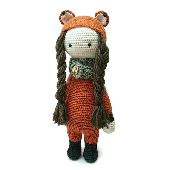 Amigurumi Fox Doll Crocheted Toy Doll Handmade Stuffed Orange Etsy