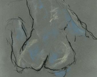 2059 Original charcoal drawing female meditating nude.