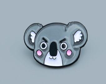 Grumpy Koala enamel pin - cute animal lapel pin