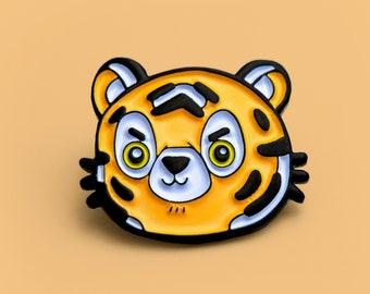 Grumpy Tiger - cute animal enamel pin