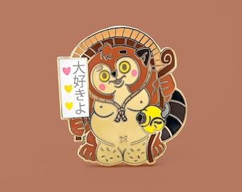 I Love you Tanuki pin - Raccoon lapel pin - hard enamel Yokai pin - japanese folklore