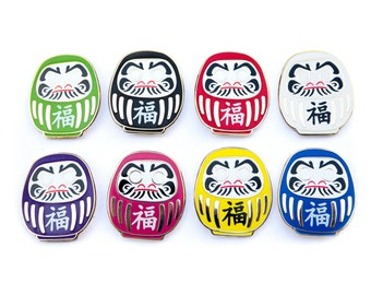 Daruma Doll enamel pin - Red - Green - White - Yellow - Purple - Blue - Black - Pink - Japanese lucky charm lapel pin