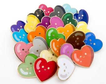 Tiny Heart pin - I LOVE YOU pin - small happy heart - hard enamel badge
