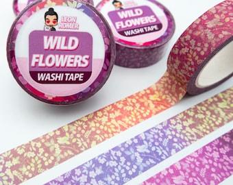 Wild Flower Pattern Washi Tape - Cute Washi Tape - flowers Washi Tape