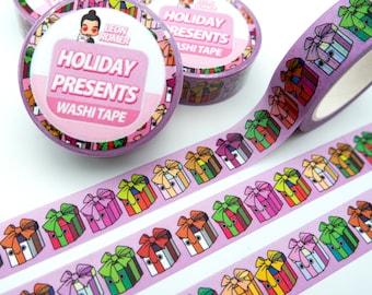 Holiday presents Washi Tape - gift wrapped seasonal gifts washi Tape
