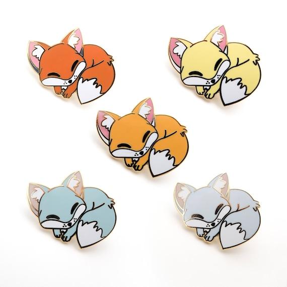 orange Red Sleepy Fox enamel pin Arctic and Gray fox hard enamel pin Fennec
