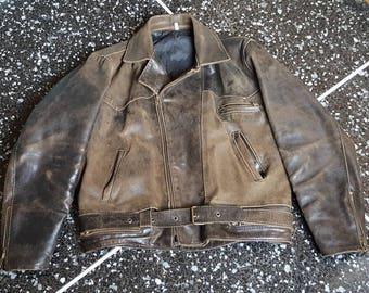 90s Brown Leather jacket men size L
