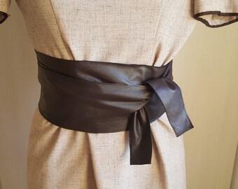 Brown Leather Sash Belt Wrap Belt Obi Belt