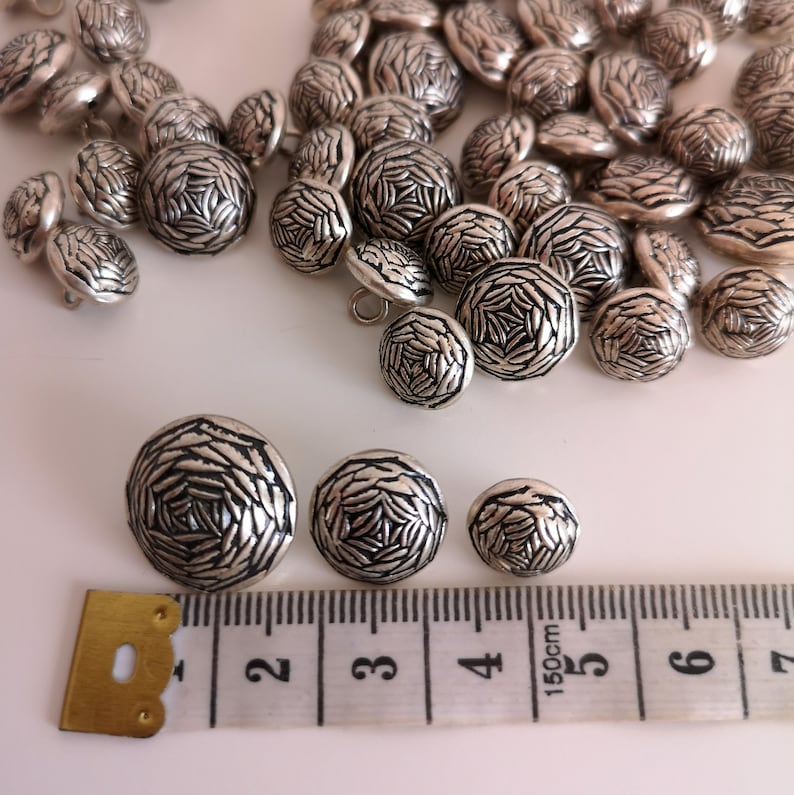 VINTAGE 88 Flower Buttons NOS Small XSmall XXSmall Silver Tone Metal Dress Shirt Doll Baby