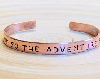 AND so the ADVENTURE BEGINS metal cuff bracelet graduation gift