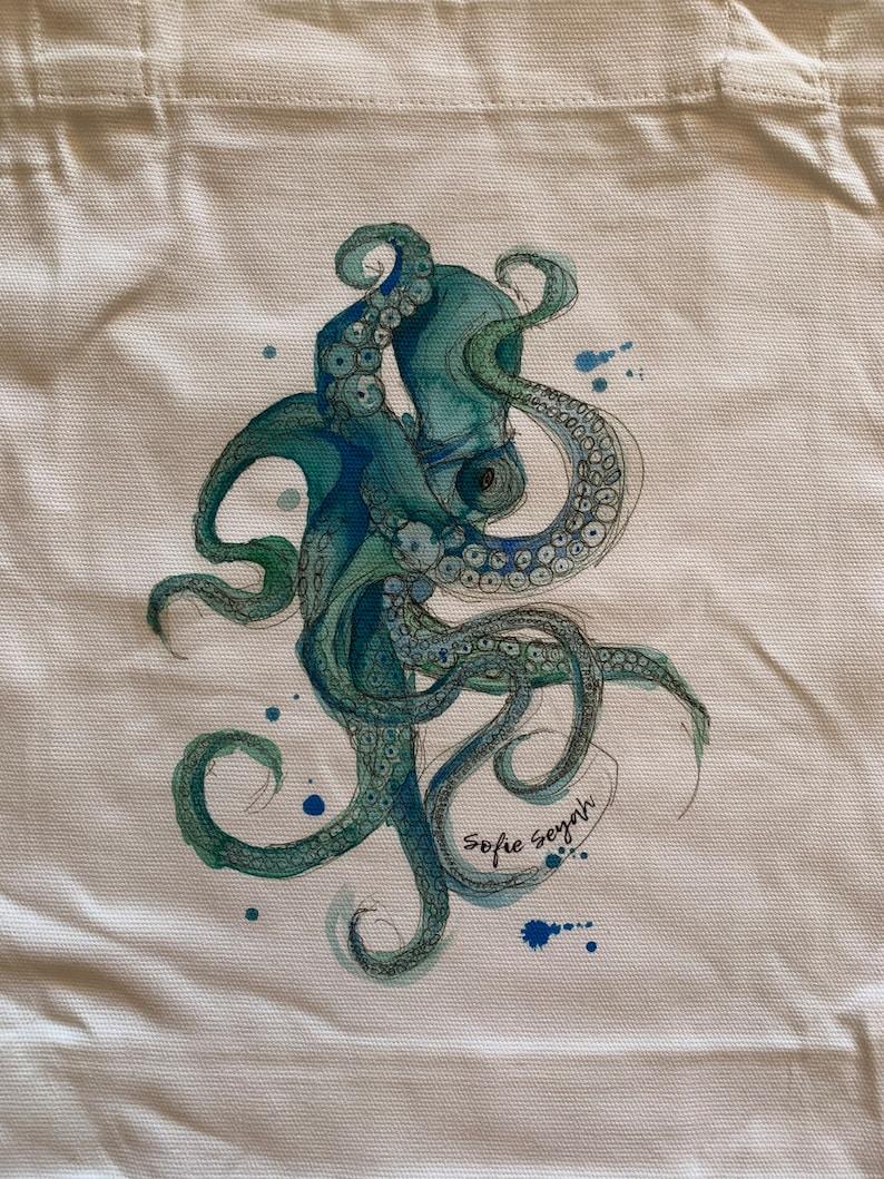Sofie Seyah Illustration Se\u00f1or Octopus Canvas Tote Bag Beach Bag