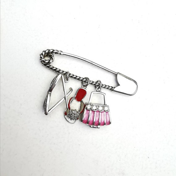 Solid Sterling Silver Safety Pin Brooch With Hand