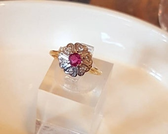Antique 18ct Gold and Platinum Ruby & Diamond Cluster Vintage Ring