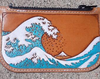Great Wave of Kanagawa Genuine Leather Smartphone Wrist Wallet
