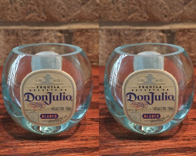 Don Julio Blanco Tequila Shot Glasses  Made From 50ml Mini Bottles - Set of (2)