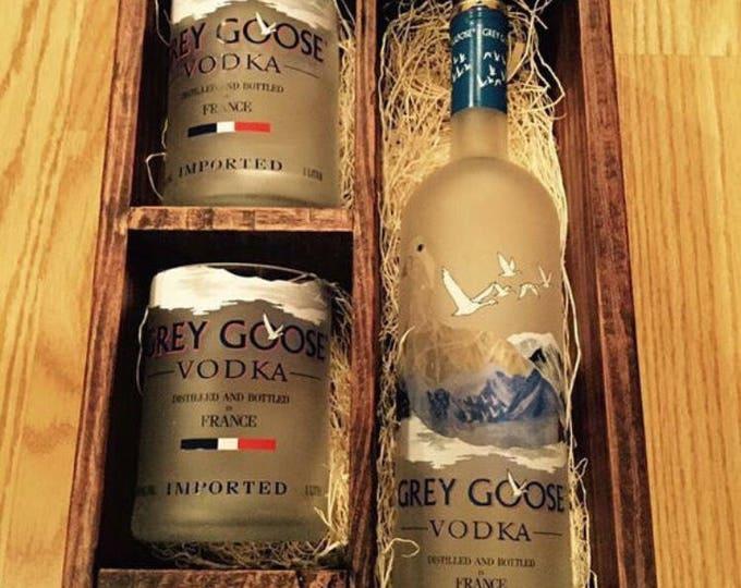 Grey Goose Vodka Wood Box Gift Set - (2) 1 Liter Bottle Rocks Glasses, (1) 50ml Bottle Shot Glass. Full bottle not included