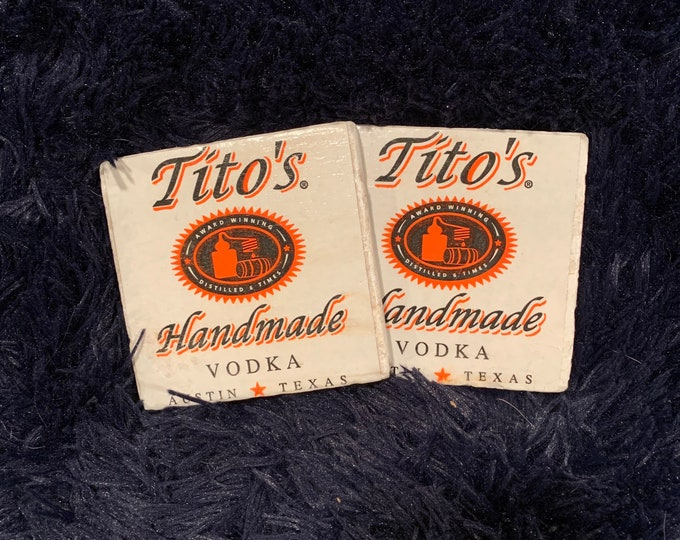 Tito's Vodka Coasters (2) - Made from Tito's Vodka Packaging