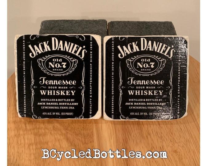 Jack Daniels Whiskey Bottle Label Coasters (2)